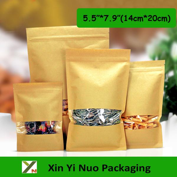 "100pcs/lot 5.5""*7.9"" (14cm*20cm)*140micron Retail Packaging Kraft paper Bag For Sale Heat Seal Bags Food Pouch"