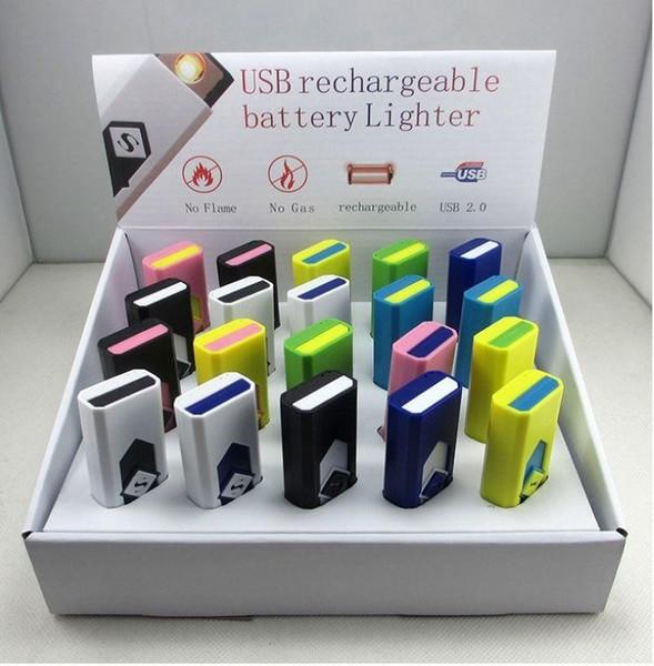 Tragbare USB-Feuerzeug wiederaufladbare USB-Feuerzeug elektrische elektronische Feuerzeug Zigaretten Feuerzeuge winproof flammlosen mit Kleinkasten