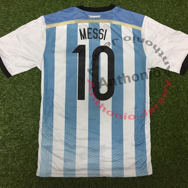 2014 COUPE DU MONDE ARGENTINE MESSI KUN AGUERO HIGUAIN DE MARIA MARADONA Thaïlande Qualité maillots de football uniformes Football chemise camiseta futbol