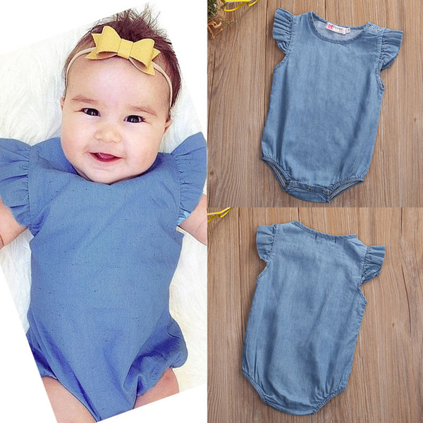 high quality Cotton girl's jumpsuit Newborn Infant Baby Girls Bodysuit sweet Romper cool angel Jumpsuit Clothes top children Outfit 0-24M