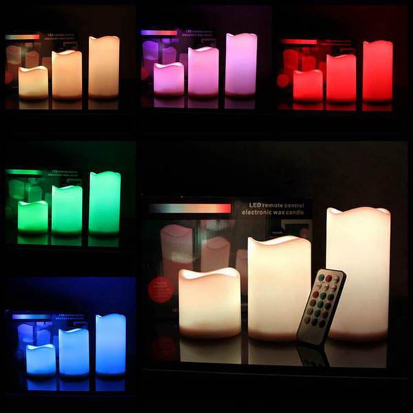 LED alevsiz Mum Uzaktan Kumanda Renk değiştirildi Pillar Mum Lamba Led Night Lights Set Romantik Düğün Hediye Noel Dekorasyon