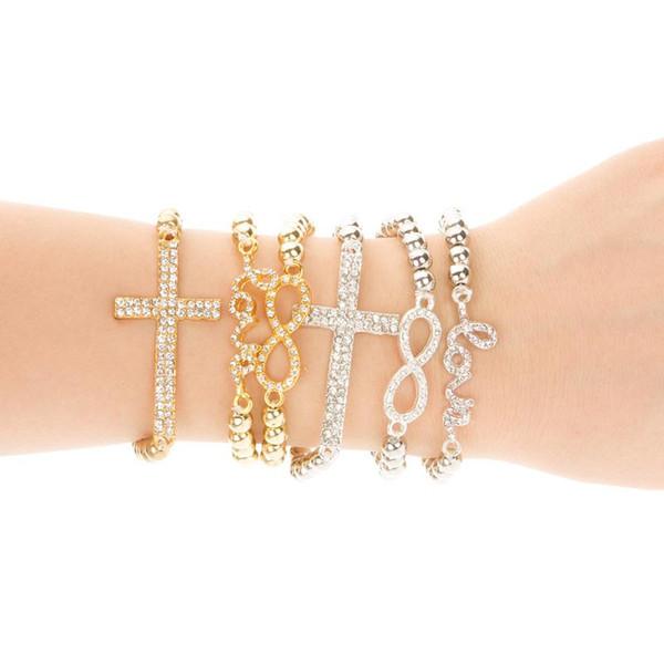 Klasik Aşk Çapraz Infinity Charm Bilezikler Kadınlar Moda Takı Altın Rhinestone Aşk Kristal Boncuk Bileklik Jewellry Esneklik 6 Stilleri