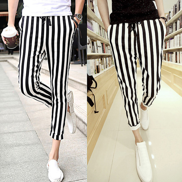 wholesale-men black and white mens casual pants leggings zebra print vertical stripe pants slim fit trousers