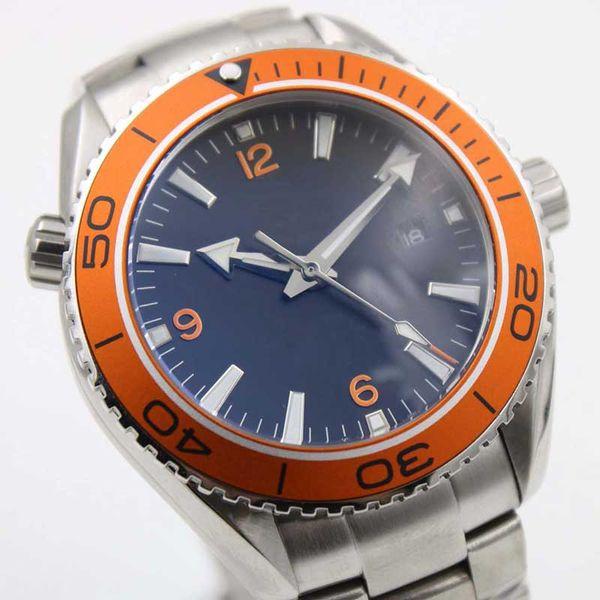Al por mayor - Lujo NUEVO Siliver Case Sea Planet Ocean Orange movimiento automático de vidrio transparente correa de acero correa original reloj de corchete
