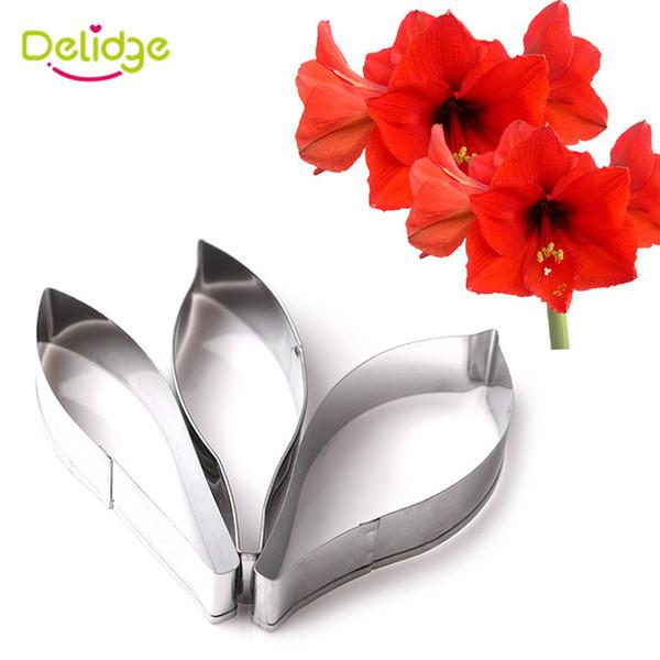 Delidge 3 adet / takım Hippeastrum Çiçek Çerez Kalıp Paslanmaz Çelik Amaryllis Fondan Sugarcraft Çerez Kek Dekorasyon Kalıp