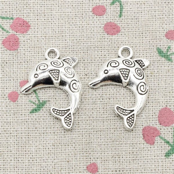 62pcs Charms dolphin 24*30mm Antique Silver Pendant Zinc Alloy Jewelry DIY Hand Made Bracelet Necklace Fitting