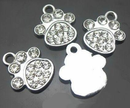 wholesale 100pcs/lot rhinestones paw hang pendant charms DIY accessories fit for phone strips key chains