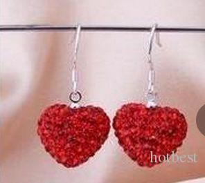 lowest price hotsale new Rhinestone Mix Colors white disco Ball beads clay heart drop Dangle crystall Crystal Earrings Stud women w93