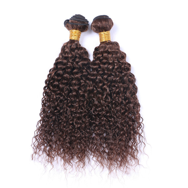 Hot Sale 8A Brazilian Curly Hair 3pcs/lot Malaysian Curly Virgin Hair Curly Weave Bundles Human Hair Extensions Natural Color Dark Brown #4