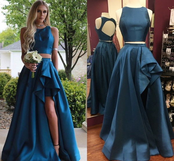 Two Piece High Low Prom Dresses Jewel Neck Ruched Satin Keyhole Back Sexy Red Royal Blue Party Dresses Backless Split Hi-Lo Evening Gowns