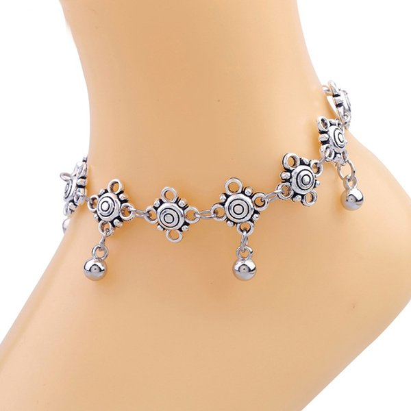 best selling Tibetan Silver Tone Anklets For Women Indian Traditional Bell Pendants Ankle Bracelet Lovely Barefoot Sandals Foot Jewelry Adjustable