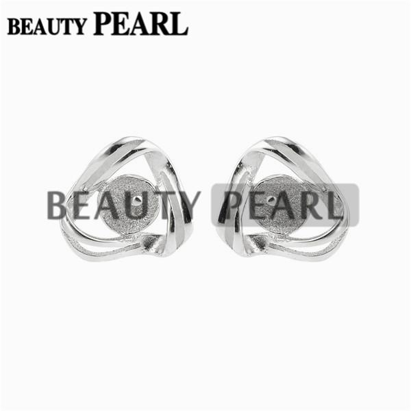 10 Pairs Stud Earring Findings 925 Sterling Silver Pearl Settings Cute Earring Small tray and post