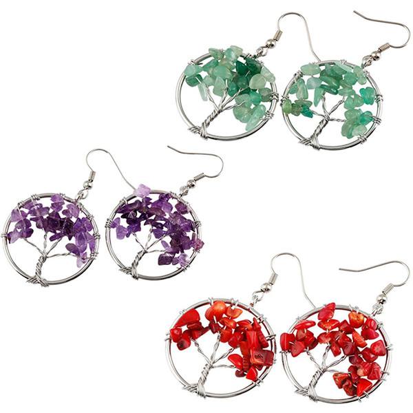 5 Styles Tree of Life Dangle Earrings Chakra Jewelry Handmade Wire Wrapped Birthstone Earrings for Women Support FBA Drop Shipping B162S
