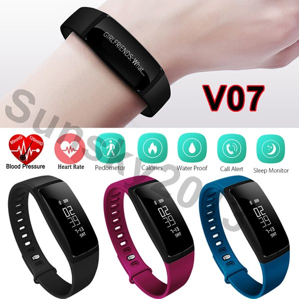 Hot Smart Band Blood Pressure Monitor Heart Rate Monitor V07S Sports Wristband Bluetooth Smartwatch for Android iOS iPhone LG Sony Xiaomi