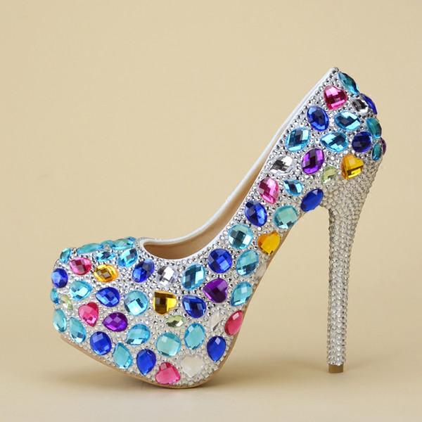 100% Handmade Wedding Shoes Women's super High Heels shoes bride Crystal diamond shoes Pumps beautiful princess wedding party Shoe