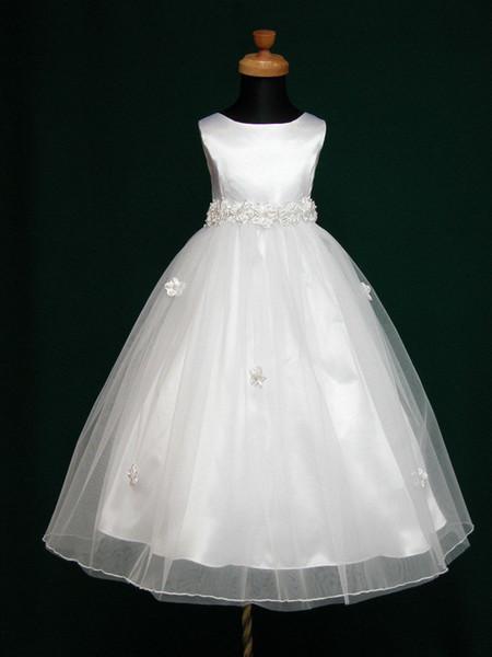 Neue Angela Flowergirl 1. Heiligen Kommunion Brautjungfer Hochzeit weißes Kleid wählen