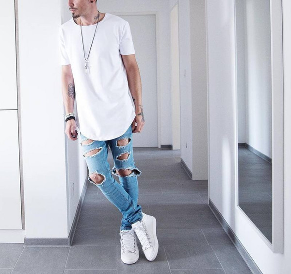 Homens verão de Manga Curta Estendido Hip Hop T camisa Oversized Tyga Kpop Swag Roupas dos homens Justin Biebe Streetwear Camisetas Casuais