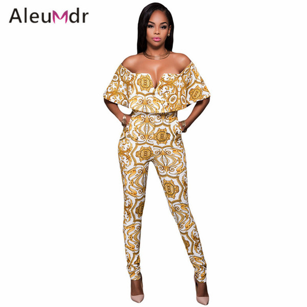 737ae3df5c Wholesale- Aleumdr Ladies Overalls For Club Print Belted Long Romper Sexy  Bodycon Jumpsuit Bodysuit Women LC64197 Monos Mujer Largos