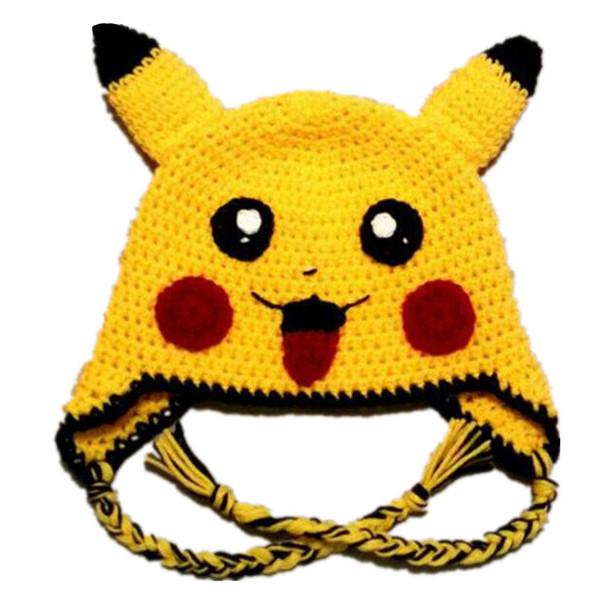 Lovely Yellow Pikachu Hat,Handmade Knit Crochet Baby Boy Girl Anime Cosplay Costume,Kids Halloween Costume,Infant Toddler Photo Prop