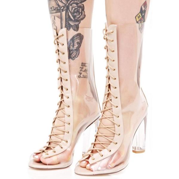 PVC Transparent Women Summer Booties Ankle Genuine leather T Show Pumps Lace up peep toe Ankle Summer Gladiators Female Sandals Shoes