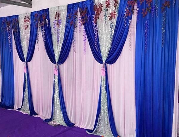 3 M * 6 M 10ft * 20ft seda gelo Backdrops Cortina de casamento com prata lantejoulas swags Celebração Stage Cetim Cortina Cortina Decoração do casamento