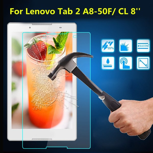 Wholesale- 9H Tempered Glass Screen Protector Transparent Film For Lenovo Tab 2 A8-50F New Tablets Screen Protector Guard Film 8 inch