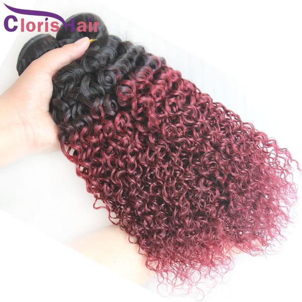 Ombre 1b 99j Cru Indiano Kinky Curly Hair 3 pcs Dois Tons Borgonha Extensões de Cabelo Ombre Melhor Cabelo Humano Vinho Tinto Ombre Weave Bundles