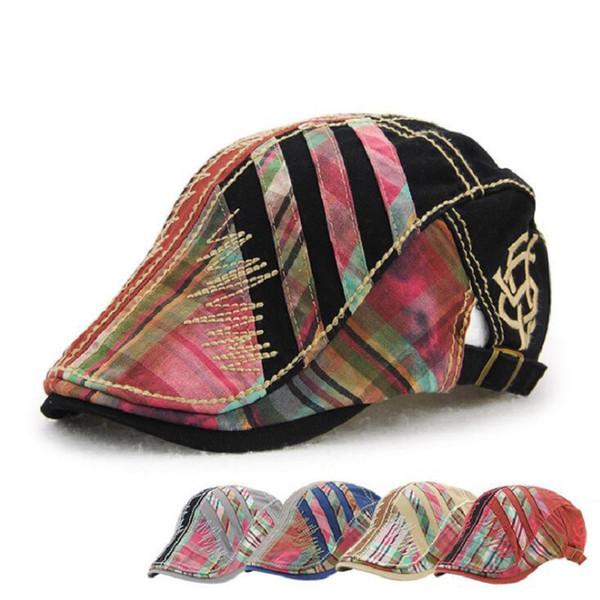 European Style Patchwork Design 2017 New Spring Fashion Men Berets Cotton Beret Cap Hats for Men Casual Vintage Caps