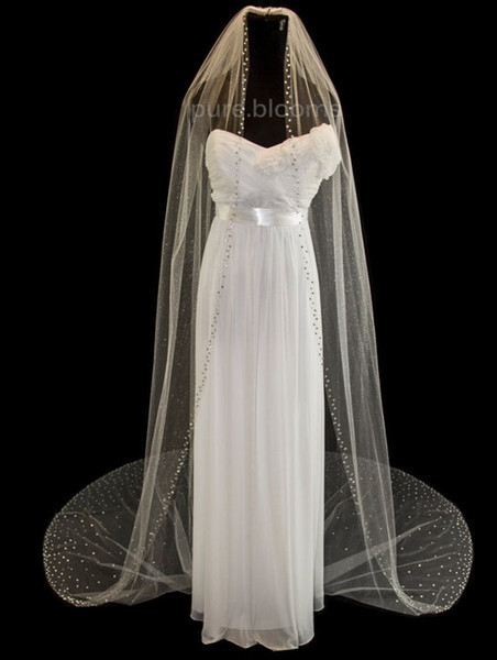 3M Cathedral White Ivory Wedding Veil Crystal Bridal Veils With Comb 1T