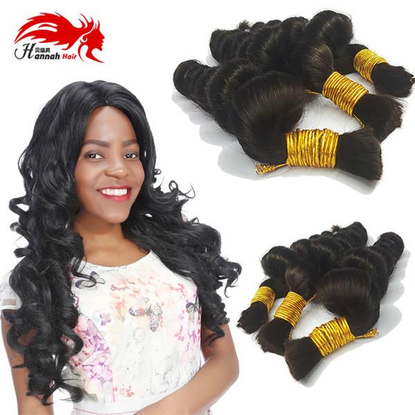 """top popular Human Hair For Micro Braids Bulk Hair No Attachment Unprocessed Looss Wave Virgin Hair Bulk 16""""-26"""" Natural Black 2019"""