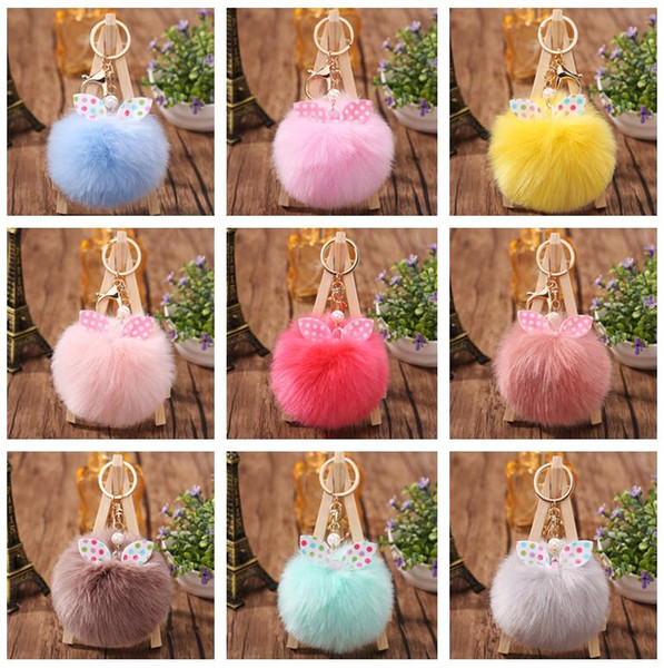 New arrival Bow knot hair ball bag pendant cute plush key chain car keychain KR358 Keychains mix order 20 pieces a lot