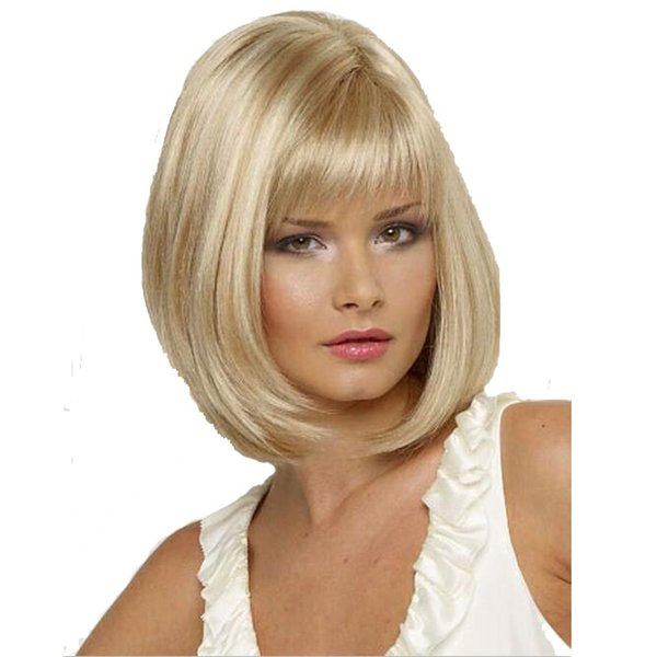 Großhandel Mittlere Länge Frisur Blasses Blondes Haar Perücken Mit Glatte Gerade Volle Pony Billige Synthetische Bob Perücke Für Frauen Cabelo