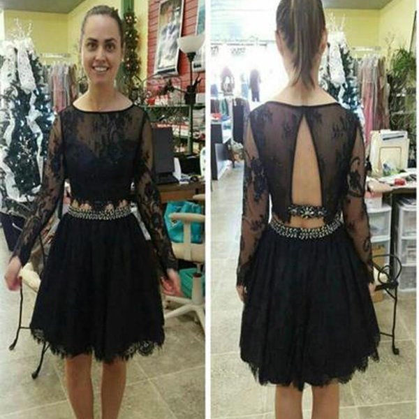 Modest Two Pieces Short Homecoming Dresses 2017 Long Sleeves Open Back A Line Lace Modest Black Party Girl Pageant Gowns Custom Made Cheap