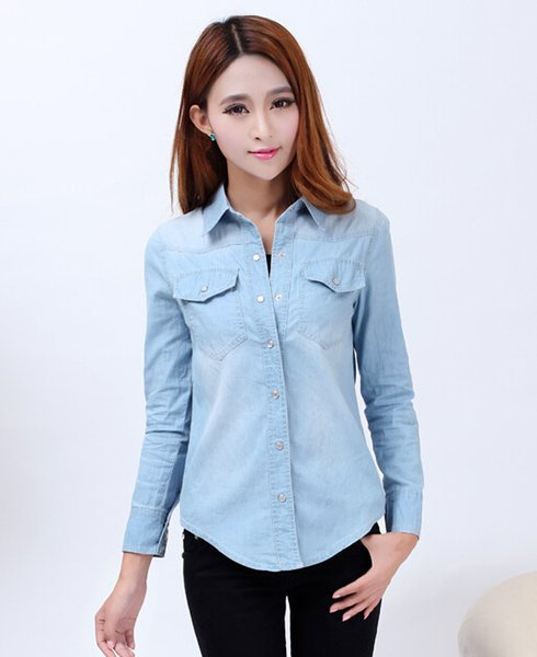cece202ba3e New 2017 Spring Woman Denim Shirt Fashion Style Long Sleeve Casual Shirts  Women 2 Colors Blouses