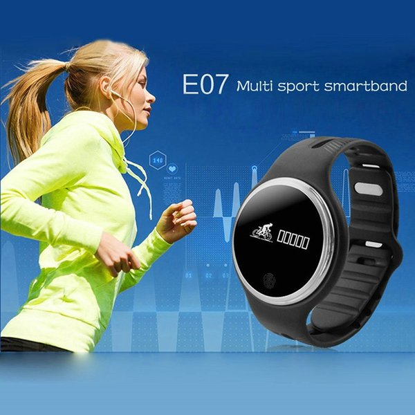 E07 Waterproof IP65 Bluetooth Smart Watch Bracelet Sport Health Pedometer Sleep Monitor Smart Watch for Android Phone epacket Free Shipping