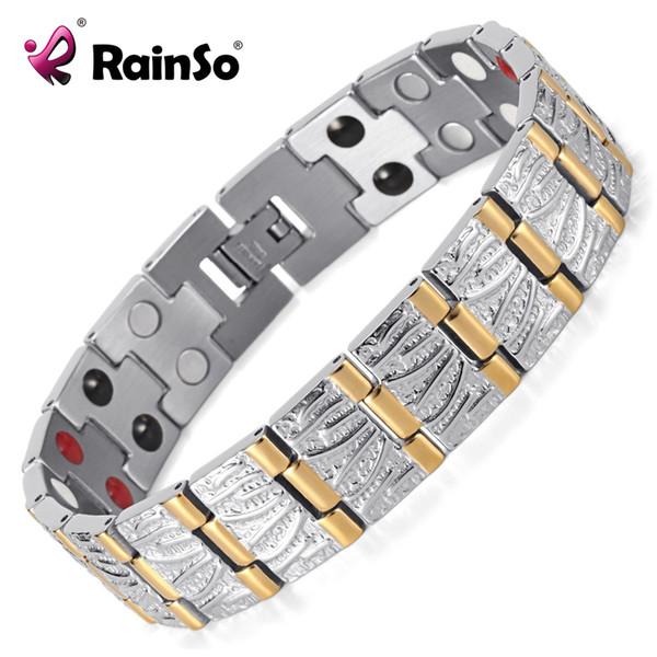 Rainso Bijoux Cadeau D'anniversaire Pour Hommes Couple Plaquage Or Santé Germanium Acier Bio Magnétique En Acier Inoxydable Bracelet OSB-065SG