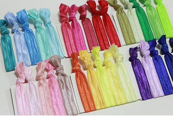 22 Colors Mix New Knotted Ribbon Hair Tie Ponytail Holders Stretchy Elastic Kids/Women Hair Accessory b061