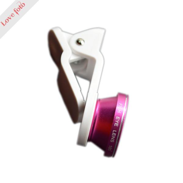 Atacado-smartphone LED Fill Light 0.65x grande angular de 185 graus lente olho de peixe 10X Macro LED Lens rose Red