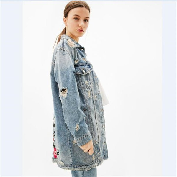 Wholesale free shipping Floral embroidery jacket coat autumn long denim jacket  women embroidered jeans jacket women patches