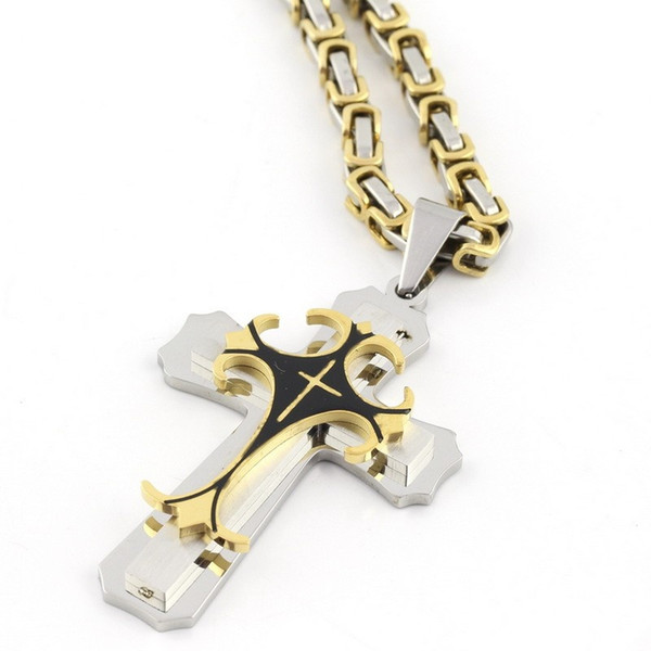 Fashion High quality 2 Layer Silver Gold Black Cross Mens Stainless Steel Pendant Necklace China pendant jewelry Suppliers NP33