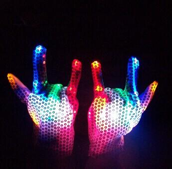 7 Colors LED Sequined Gloves Wedding Rave Finger Lighting Party Decorations Christmas Flashing Glow Mittens