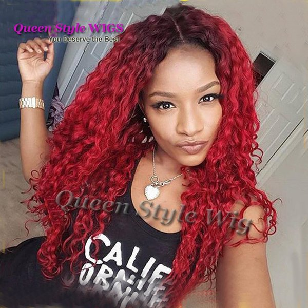 Premium Natural Brazilian Water Beach Kinky Curly Hair Lace Wig Synthetic Black Ombre Burgundy Color Lace Front Wigs For Dark Skin Women Man Wig No