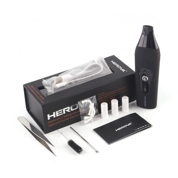Authentic Herova 3 in 1 Vaporizer E Ceramic Kits Dry Herb Vaporizers Kit Or Wax Available Wax Vaporizer Herbal Pen 100% Genuine 2253004
