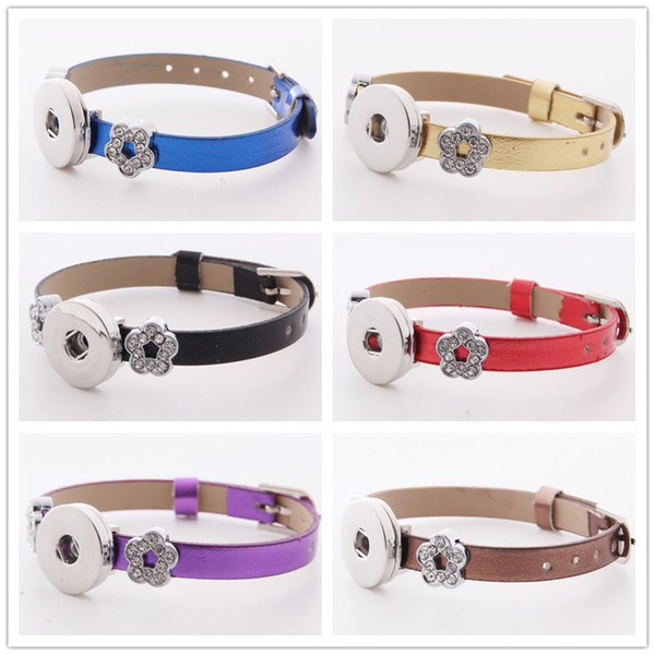 10 COLORS Fashion Watch buckle 18mm Snap Button Leather Bracelet Crystal Flower Spacer DIY Interchangable Noosa Chunks Charms Jewelry Z49