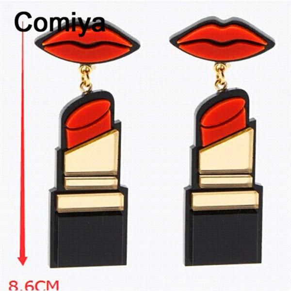 Comiya largos labios rojos brincos grandes moda labiales punk grandes cuelgan pendientes ethnique aretes de mujer joyería pendiente de la gota