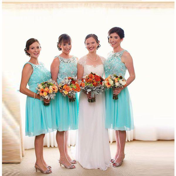 2017 Free Sheep Blue Elegant Chiffon Bridesmaid Dresses Custom Made Lace Ruffle Formal Prom Gown Knee Length Cheap maid of honour at wedding