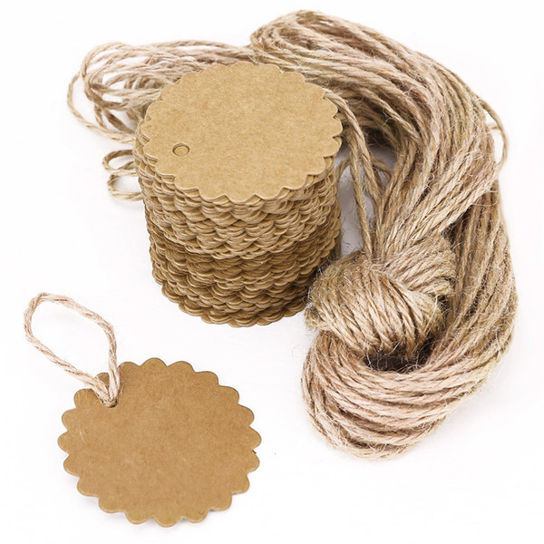 top popular 100pcs 60mm Round Scalloped Kraft Paper Card   Gift Tag   DIY Tag Hang Tag Label Ear Stud Hooks Cardboard Price Tags 2021