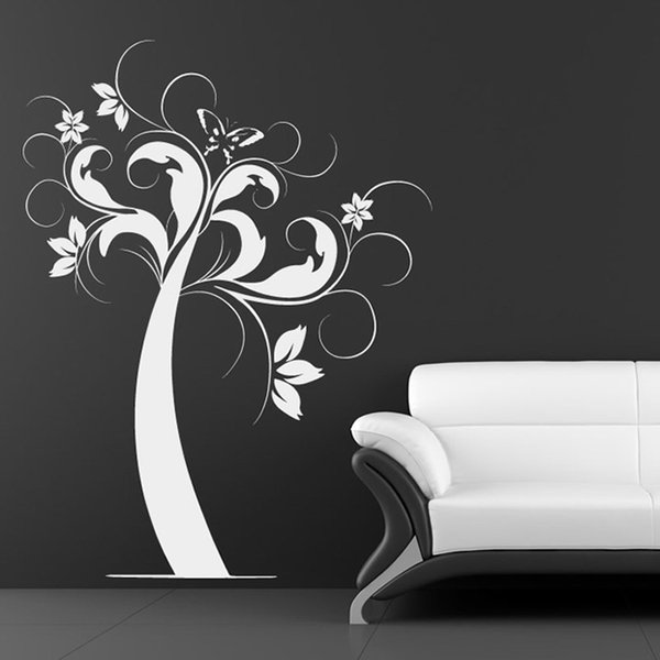 Nature Style Home Decor Self Adhesive Butterfly and Flower Tree Wall Sticker White Vinyl Waterproof Wall Decal for Room
