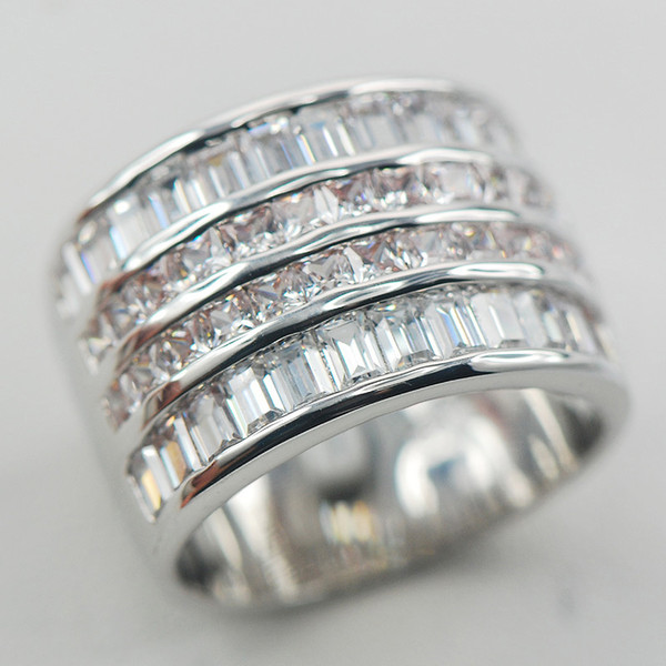 ring size Micropave White Crystal Zircon 925 Sterling Silver Ring Size 6 7 8 9 10 11 A13