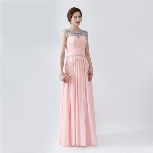 Compre Vestido Largo Elegante Del Baile De Fin De Curso Vestido Para Formatura 2019 Vestido Rosado Caliente De La Venta Vestidos De Noche Baratos Del